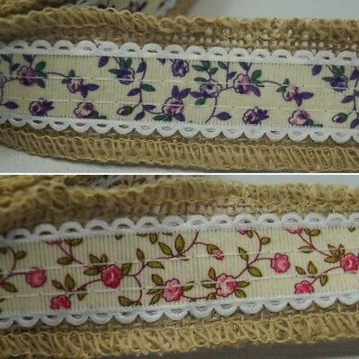 1 Metre Tangled Rose Vines Floral Flower Hessian Ribbon In Two Colours