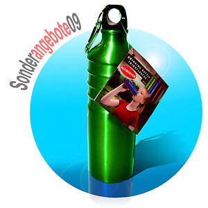 OUTDOOR-Alu-Trinkflasche-750ml-gruen-Aluminium-Aluflasche-Sport-Fahrradflasche