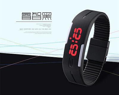 New Mens Womens Rubber Red LED Watch Date Sports Bracelet Digital Wrist Watch