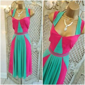 PER UNA  UK 12 Marks & Spencer Pink Green Chiffon Fit & Flare Dress Summer
