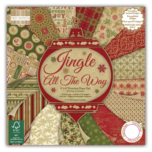 FOR CRAFTS SAMPLE PACKS 16 X  6 x 6 PAPERS FIRST EDITION JINGLE ALL THE WAY