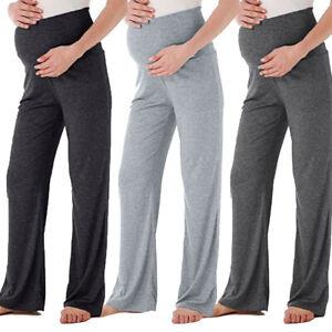 Womens-Summer-Mom-Maternity-Wide-Leg-Straight-Pants-High-Waist-Pregnancy-Trouser