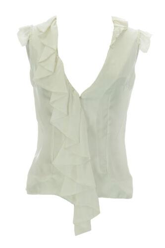 ANNE LEMAN Women/'s White Rosiland Ruffle V-Neck Blouse SP91TP1 $219 NEW