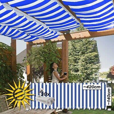 Home & Garden Garden Structures & Shade Seilspannmarkise Blau Weiss Ca 420x140 Cm Pergola Komplett Set Mit 30 Laufhaken Delicacies Loved By All