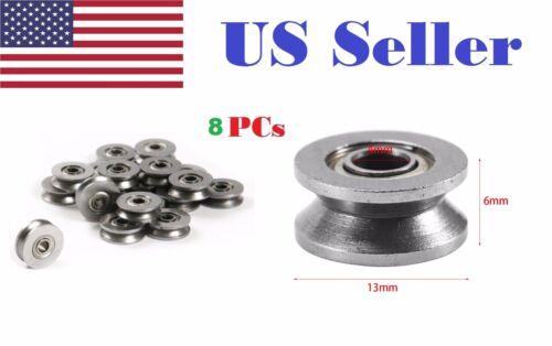 4mm*13mm*6mm 8pcs V624ZZ 624VV V Groove Guide Pulley Rail Ball Bearings Metal