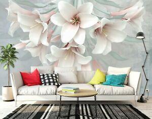 Lirio-Blanco-3D-R208-negocios-auto-adhesivo-Wallpaper-Mural-comercio-Amy
