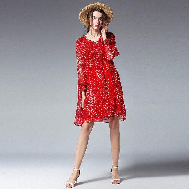 Élégant dress gown maxi large red white lace swing soft 4967