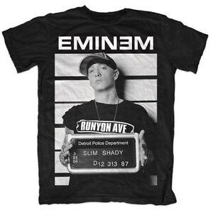 EMINEM-arresto-Formato-Ritratto-Foto-Slim-Shady-RAP-MUSIC-Ufficiale-Da-Uomo-Nero-T-shirt