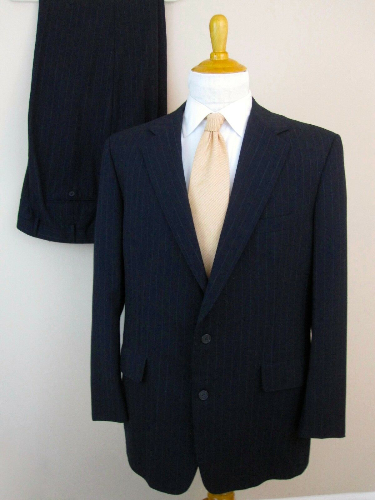 Brooks Brothers Suit 41R Blau Pinstripes 100% Wool 2 Buttons Pants 37 X 30