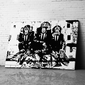 3 Wise Monkeys Chimps Banksy Canvas Wall Art Prints Framed Graffiti Pictures