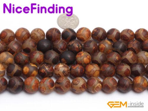 "Natural Round Tibetan DZI Wood Agate Gemstone Loose Beads For Jewelry Making 15/"""