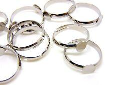 10 Pcs - Antique Silver Adjustable Ring Blanks 6mm Flat Pad Glue Jewellery J112