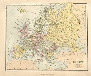 1880 Victorian Map Europe British Isles France Spain Austria