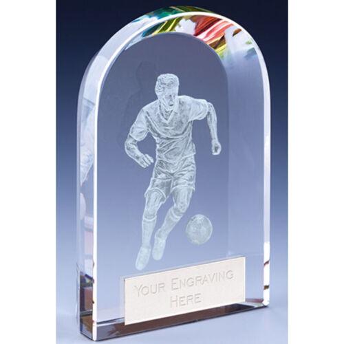 Football Soccer Trophy 2 tailles disponibles Arc Verre Qualité Gravé FREE Award