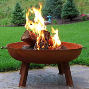 """Sunnydaze 34"""" Fire Pit Cast Iron with Rustic Finish Wood-Burning Fire Bowl"""