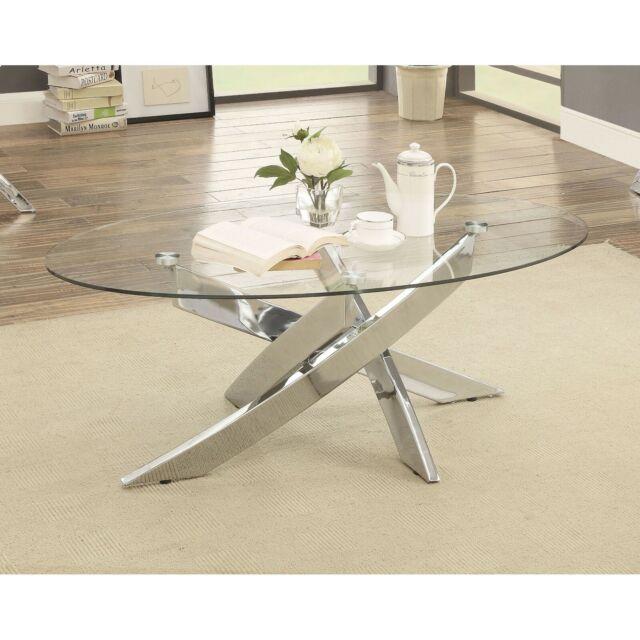 Modern Crisscross Chrome Legs Oval Gl Top Living Room Coffee Table Silver