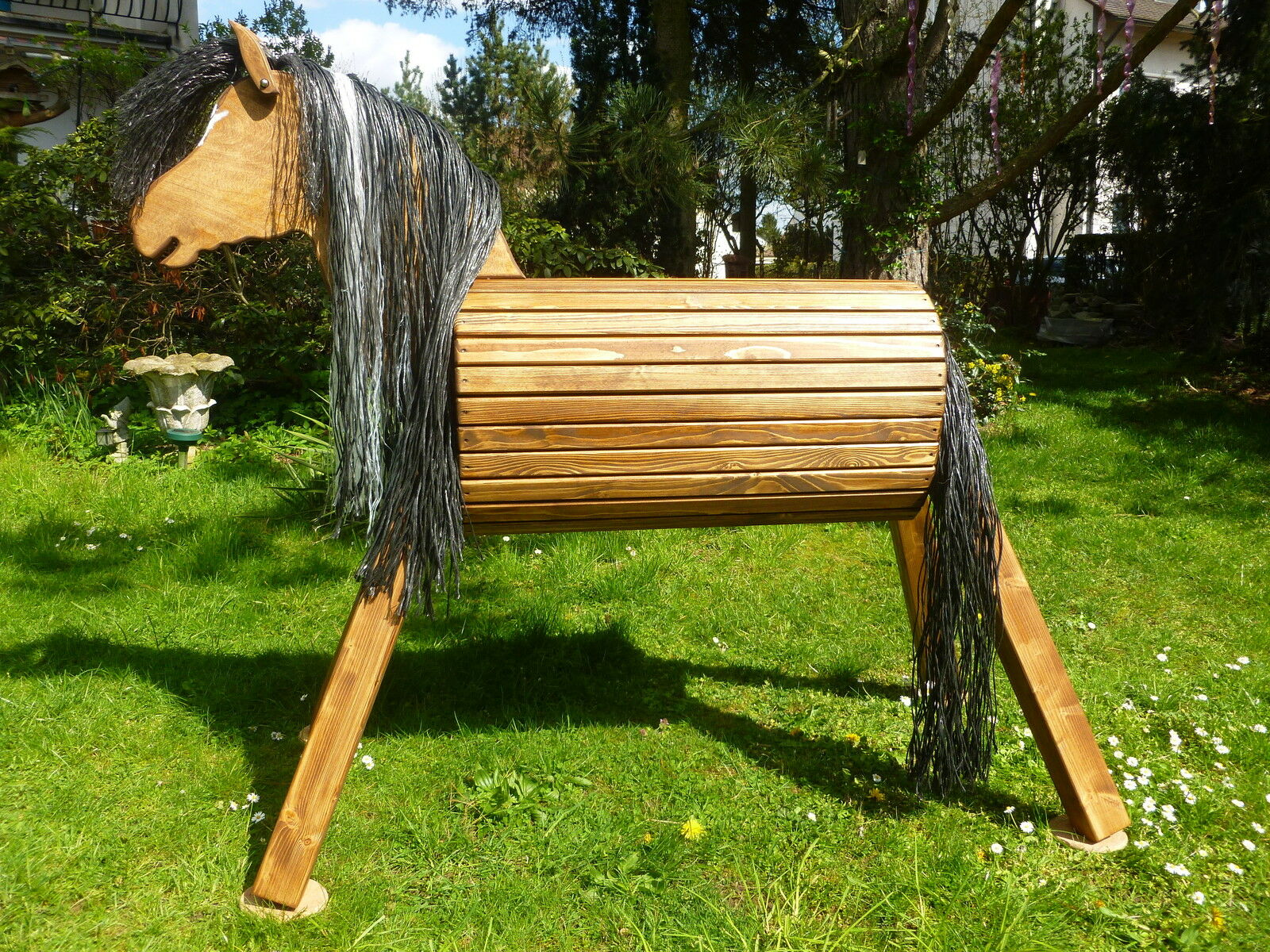 80cm Holzpferd Voltigierpferd Pony Pferd mit  Maul für Trense Trense Trense und Blesse  NEU 6673bd