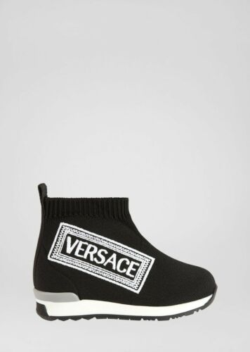 NWT NEW Young Versace boys girls black sock sneaker shoes logo 20 4 21 5 24 8