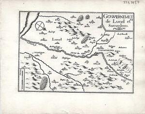 Antique maps, Gouvernement de Lunel et Sommieres