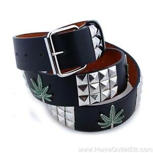 3-Row Metal Pyramid Studded Leather Belt Marijuana Leaves Weed Pot Mens Womens