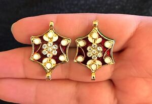 2 unit Latest Indian Gold base Enamelled Stone Buttons Crafting dress making
