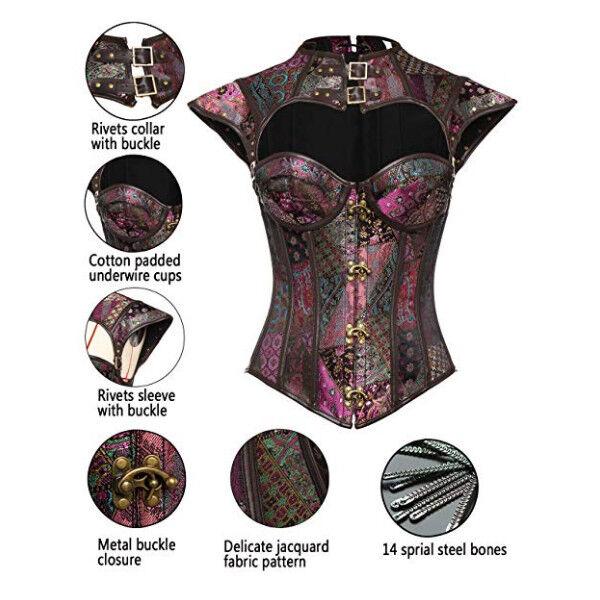 UK Steampunk Steel Boned Top Corset Halloween Party Vintage Costume Basque Dress