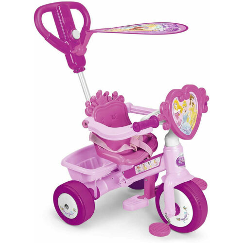 2-in-1 Disney Princess Pedal Kids Bike Trike Pink Tricycle Lights Sound Buggy