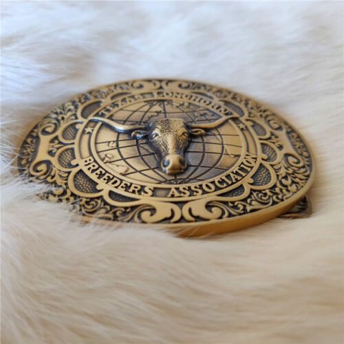 Pure Brass Shiny Vintage Antique Belt Buckle Ox Bull head Western Cowboy Boucle