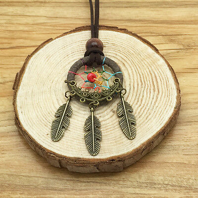 New Retro Handmade Dreamcatcher Feathers With Bead Long Chain Gray Necklace