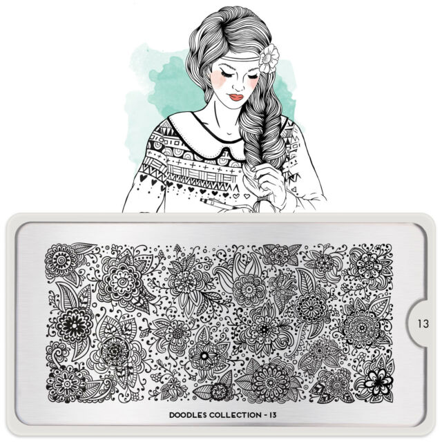 MoYou London DOODLES 13 Collection Stamping Schablone, Schnörkel Blume