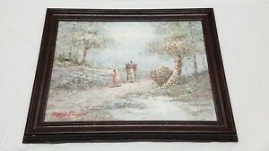 Vintage-Signed-Marie-Charlot-Horse-Carriage-Oil-Painting-Impressionist-Forest