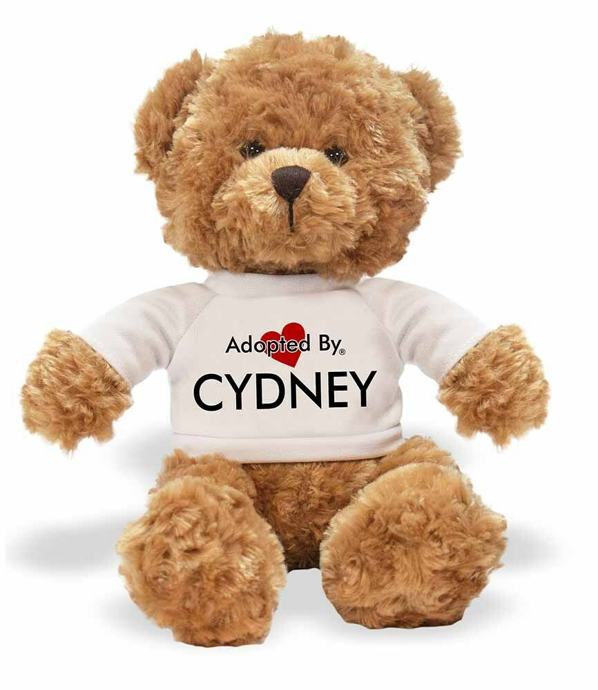 Adopted By CYDNEY Personalised Teddy Bear Wearing a Personalised CYDNEY Name T-Shirt, CYDNEY-TB1 f4f60d