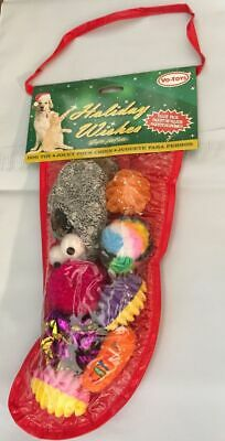 FREE SHIP TO USA VOTOY XPET CAT TOY CATNIP HOLIDAY STOCKING 8 PIECE CHRISTMAS