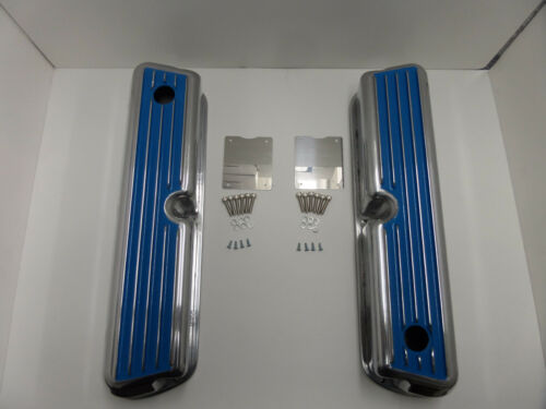 62-85 SBF Ford 302 Blue Finned Polished Aluminum Tall Valve Covers 289 351W 5.0