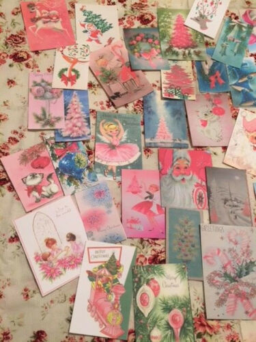 Christmas Die Cuts-Gift Tags~45 Shabby Pink-Green-Blue Vintage Style~Mixed Media