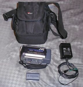 JVC-Everio-GZ-MG155U-30GB-Hybrid-Camcorder-Power-Cord-Extra-Battery-and-Bag