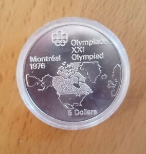 Silver Canada 1973 5 Dollars Olympic Games Montreal 1976 Map Queen Coin