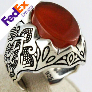Natural-Red-Carnelian-925-Sterling-Silver-Turkish-Handmade-Men-039-s-Ring-All-Sizes