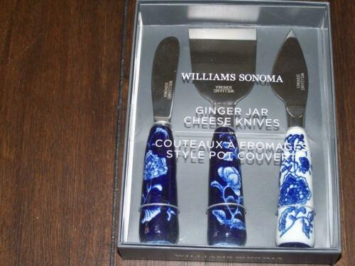 NEW WILLIAMS SONOMA CHEESE KNIVES GINGER JAR CHEESE KNIVES SET OF 3 BLUES