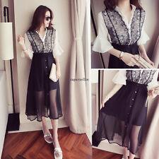 New Korean Lady Lace Chiffon Empire Waist Party Maxi Summer Beach Long Dress 2XL