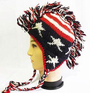 eb5bd4641 Details about New American flag Mohawk Hat cap beanie Pilot handmade 100%  Wool w Fleece lining