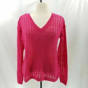 Abercrombie-amp-Fitch-Women-L-Sweater-Soft-Wool-Pullover-Open-Knit-L-S