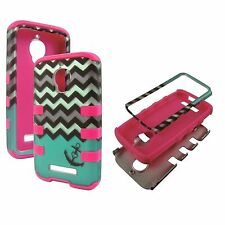 Hybrid Tuff Teal Zig  Anchor For Alcatel One Touch Fierce 7024W Ruber Cover Case