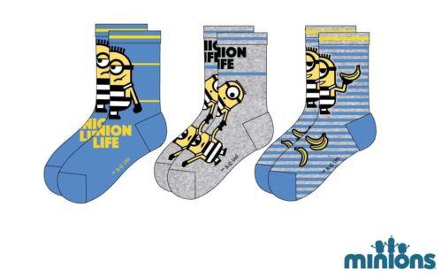 3er Pack Disney sous-fifres Minion Socquettes Chaussettes Chaussettes Taille 23-34 neuf et neuf dans sa boîte
