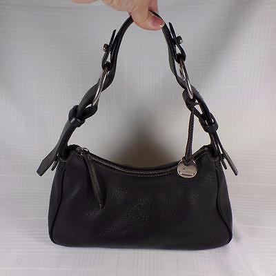 DOONEY & BOURKE Black Pebbled Leather Medium Zip Hobo Bag Purse J7356227