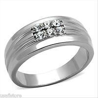 Six Top Grade Crystal Stones Silver Stainless Steel Mens Ring