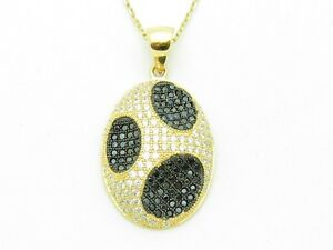 18KT-GOLD-STERLING-SILVER-DIAMOND-SET-MICRO-PAVE-BLACK-SAPPHIRE-ABSTRACT-PENDANT