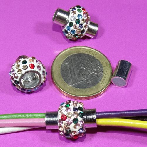 3 Cierres Con Cristales  Magnéticos 17x14mm T566 Clasps Armband Spange Cuir