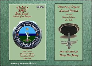 Royale Car Grill Badge + Fittings - ROYAL CORPS OF SIGNALS PROUD - B2.3403