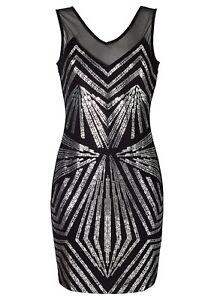 kleid mit paillettendruck gr 32/34 schwarz abendkleid cocktailkleid neu  ebay